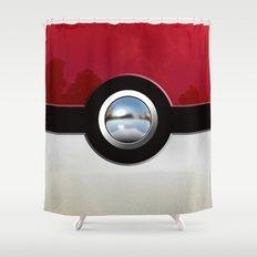 Retro Chrome pokeball iPhone 4 4s 5 5c, ipod, ipad, pillow case tshirt and mugs Shower Curtain