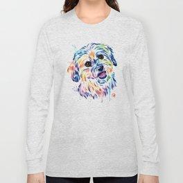 Shih Tzu Colorful Watercolor Pet Portrait Painting Long Sleeve T-shirt