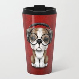 English Bulldog Puppy Dj Wearing Headphones and Glasses on Red Travel Mug