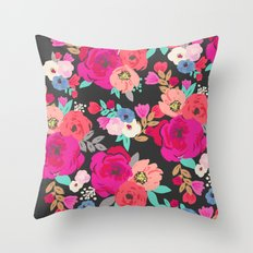 Sweet Pea Floral Black Bright Color Throw Pillow