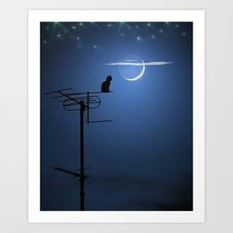 'Goodnight Moon - Cat on a Roof' portrait Art Print