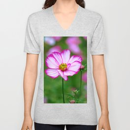 pink cosmosflowers on a flower meadow, bloom, floral Unisex V-Neck