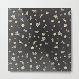 Floral on grey Metal Print