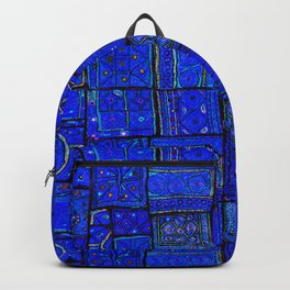 -A2- Lovely Calm Blue Traditional Moroccan Pattern Artwork. Backpack