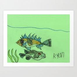 Foxface & Fugu Fish Art Print