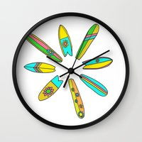 surfboard Wall Clocks featuring Retro Surfboard Flower Power by Surfy Birdy
