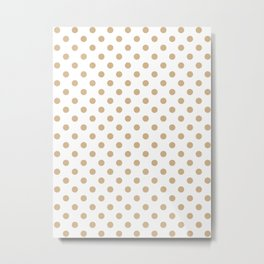 Small Polka Dots - Tan Brown on White Metal Print