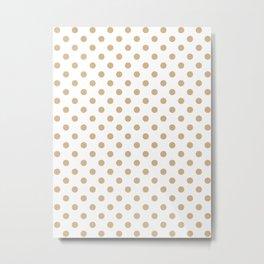 Small Polka Dots - Tan Brown on White Metal Print