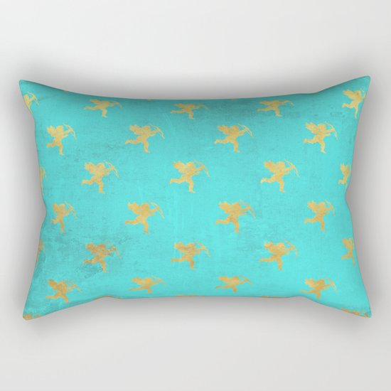 Gold Angels on aqua backround- pattern Rectangular Pillow