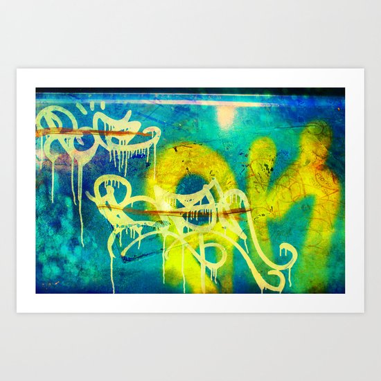 Yellow Drip Art Print
