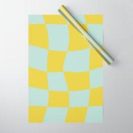 Retro Wavy Checker - Chartreuse + Robin's Egg Blue Wrapping Paper