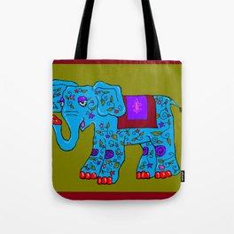 Blue Elephant with Pink Fleur de Lis Tote Bag