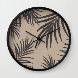 Palm Leaves Pattern Sepia Vibes #1 #tropical #decor #art #society6 Wall Clock