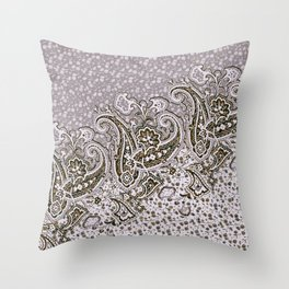 paisley border on small florals Throw Pillow