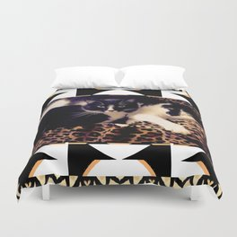 Love & Peace Cats on Black,White,Gold,Leopard Duvet Cover