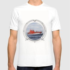 Port Hole View Mens Fitted Tee MEDIUM White