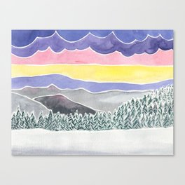 Quiet Snow with Mountains and Clouds Canvas Print