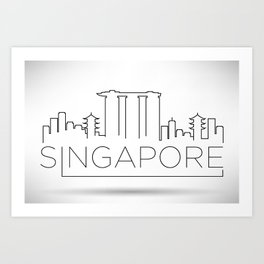 Minimal Singapore Skyline Design Art Print