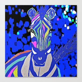 Zebra and Indigo Blue Canvas Print