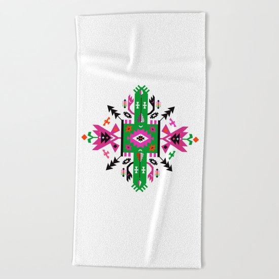 Fuchsia and Green Ethnic Aztec Ornament Beach Towel