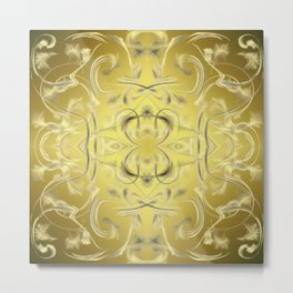 silver and gold Digital pattern with circles and fractals artfully colored design for house Metal Print