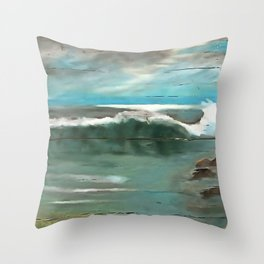 Making Waves On Driftwood Throw Pillow