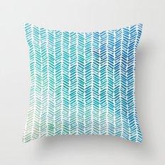 Handpainted Herringbone Chevron pattern-small-aqua watercolor on white Throw Pillow