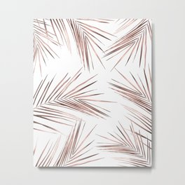 Rose Gold Palm Leaves on White Metal Print