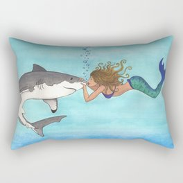 The Shark and the Mermaid Rectangular Pillow