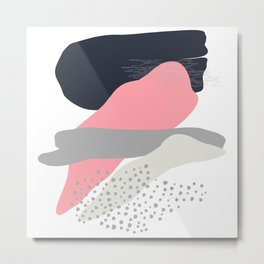 Abstract in Pink & Grey Metal Print