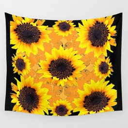 Golden Yellow Sunflower Black patterns Wall Tapestry