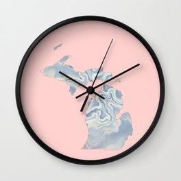Marble Michigan map Wall Clock