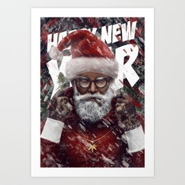 Rasta Santa Claus. Happy New Year and Merry Christmas. Art Print