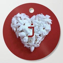 Red Monogrammed Heart J Cutting Board