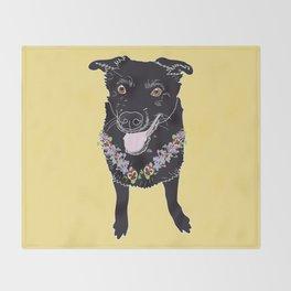 Happy Black Lab Dog Throw Blanket