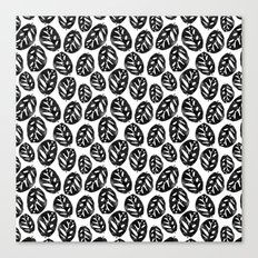 Monstera obliqua linocut black and white minimal house plants cute zen vibes yoga art Canvas Print