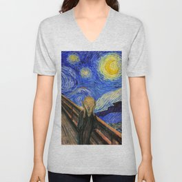 "Edvard Munch,"" The Scream "" + Van Gogh,"" Starry night "" Unisex V-Neck"