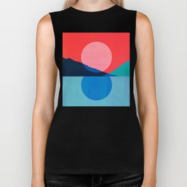 Abstraction_Mountains_SUNSET_Reflection Biker Tank