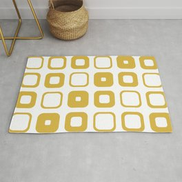 Rounded Squares Geometric Pattern in Mustard Yellow and White Rug