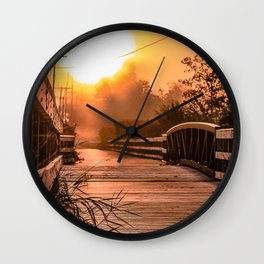 A beautiful sunrise view from a park footbridge Wall Clock