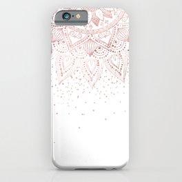 Elegant rose gold mandala confetti design iPhone Case