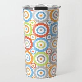 Abstract Circles Repeat Pattern Color Mix & Greys Travel Mug