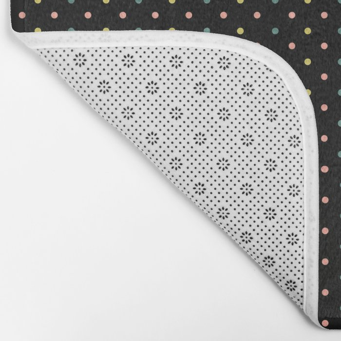 Small dots on black Bath Mat