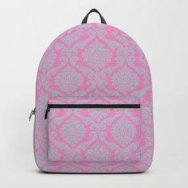 Template,pink,damask pattern,vintage,floral,elegant,chic,victorian pattern, art nouveau pattern, wal Backpack