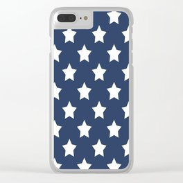 White stars on a blue background Clear iPhone Case