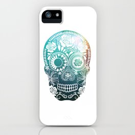 Mexican Skull / teal iPhone Case