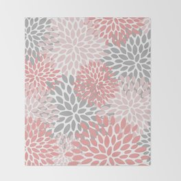 Floral Pattern, Coral Pink and Gray Throw Blanket