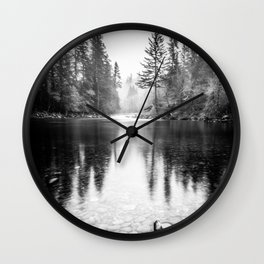 Forest Reflection Lake - Black and White  - Nature Photography Wall Clock