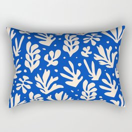 matisse pattern with leaves in blu Rectangular Pillow