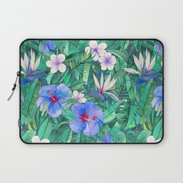 White Bird of Paradise & Blue Hibiscus Tropical Garden Laptop Sleeve